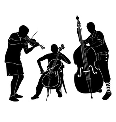 Musicians play on the violin and cello bass vector