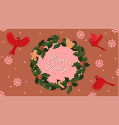 new year banner with red cardinal and christmas vector image