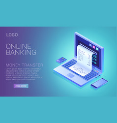 online banking service concept check from laptop vector image