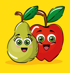 pear and apple fruits comic characters vector image