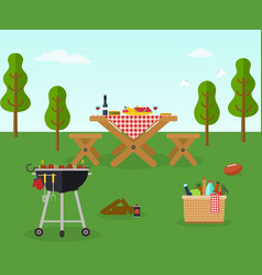 Picnic bbq party outdoor recreation vector