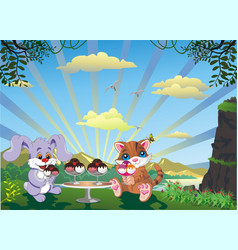picture - kitten and rabbit with ice cream vector image