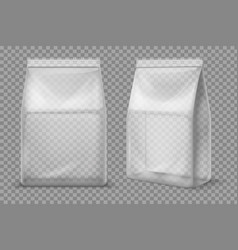 plastic snack bag transparent food blank sachet vector image