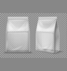 Plastic snack bag transparent food blank sachet vector