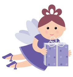 pretty fairy with a gift vector image
