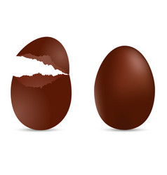 realistic brown egg with cracked effect vector image