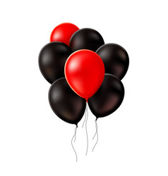 realistic red black balloons black friday vector image