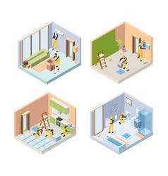 Repair isometric renovate floor painting walls vector