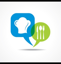 Restaurant forks and chef hat in message bubble vector image
