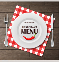 Restaurant menu front banner with plate and vector