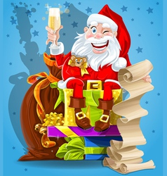 Santa Claus and champagne vector