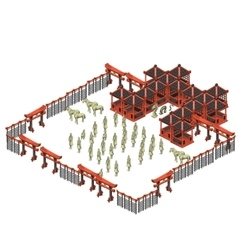 Scene creator Oriental building and army soldiers vector