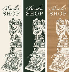 Set banners for books shop in vintage style vector