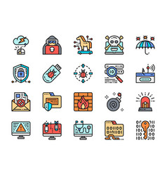 set cyber security color line icons cybercrime vector image