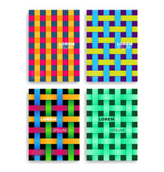 Set of abstract cards with layers overlap vector