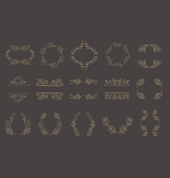 set of gold floral frames and wreaths with plant vector image