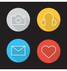 Social media flat linear icons set vector