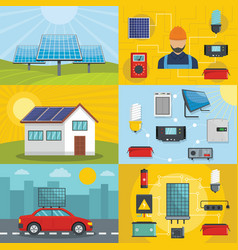 solar energy tools banner concept set flat style vector image