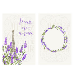 souvenir card with eiffel tower eiffel tower with vector image