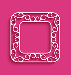 Square frame with cutout paper border vector