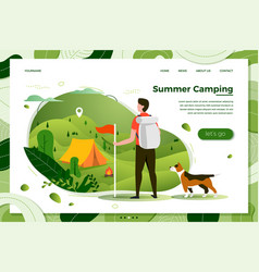 tourist man with dog looking on camp place vector image
