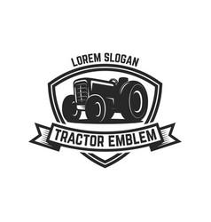 tractor emblem farmers market design element vector image
