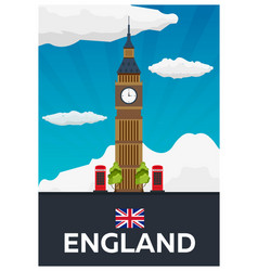 travel poster to england big ban flat vector image