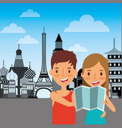 Travelers couple tourist with map vacations vector