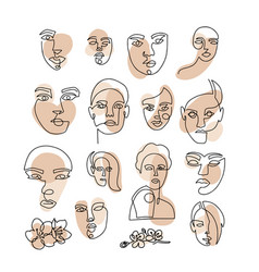 trendy creative set one line continuous face vector image