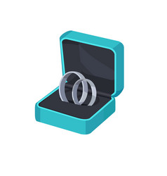 Two platinum engagement rings in box isolated vector