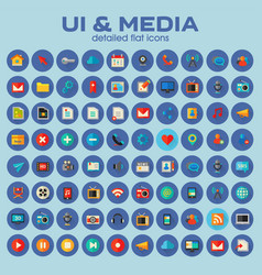 Ui and multimedia big icon set trendy flat icons vector