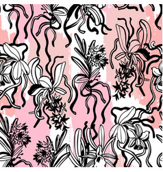 unusual orchid flowers seamless pattern vector image
