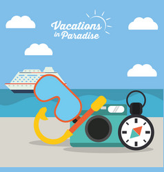 Vacations in paradise - equipment travel vector