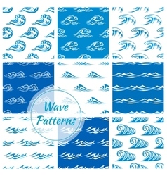 Waves water splashes seamless patterns set vector