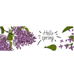 Web banners with purple lilac flowers vector