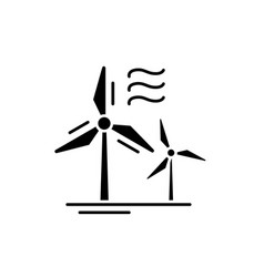 wind power black icon sign on isolated vector image