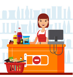 woman cashier in supermarket with snack products vector image