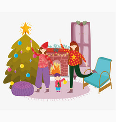 women and little boy living room with tree merry vector image