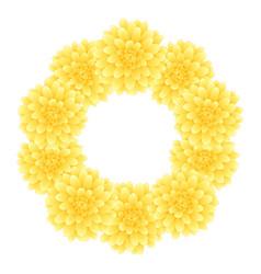yellow dahlia wreath style 2 vector image