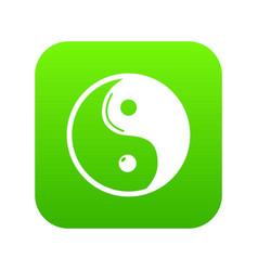 yin yang symbol taoism icon green vector image