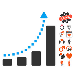 bar chart trend icon with lovely bonus vector image vector image