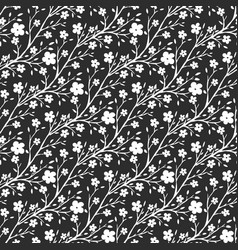 black and white flowers pattern seamless pattern vector image