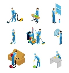 Professional Cleaners Isometric Icons Set vector image vector image