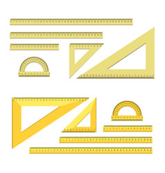 ruler chancery tools set flat style vector image