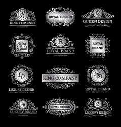 silver luxury labels set vector image