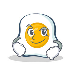 smirking fried egg character cartoon vector image vector image