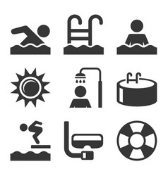 swimming pool icons set on white background vector image vector image