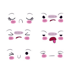 White background set for six different facial vector
