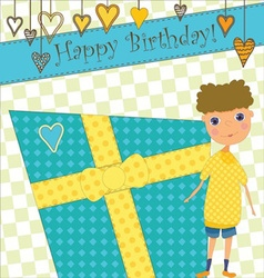 Birthday Greeting with Boy and Gift vector image vector image