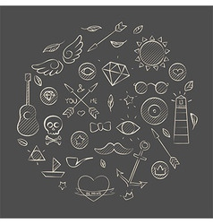 Hand drawn set of hipster elements over brown vector image vector image
